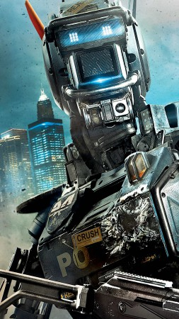 Chappie, Best Movies of 2015, Hugh Jackman, Dev Patel, poster, wallpaper, robot, gun (vertical)