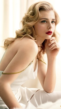 Chloe Moretz, actress, blonde, portrait (vertical)