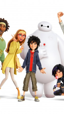 Big Hero 6, names, Baymax, Hiro, Wasabi, Honey Lemon, Fred, Gogo Tomago, Best Animation Movies of 2015 (vertical)