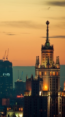 Moscow, Sunset, downtown, travel, sky
