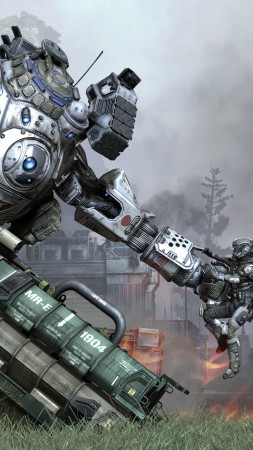 Titanfall, shooter, FPS, robot, creature, soldier, titan, Atlas, Ogre, Stryder, PC, Xbox One (vertical)