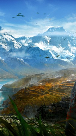 Far Cry 4, game, open world, Adventure games, shooter, Kyrat, Himalayas, Tibet, lake, screenshot, review, 4k, 5k (vertical)