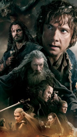 Hobbit, The Battle Of The Five Armies, movie, fantasy, dragon, fire, sword, mage, Gandalf, battle (vertical)