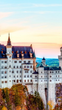 Castle, Neuschwanstein, alps, Autumn, bavaria, Germany, Mountain, sky, travel