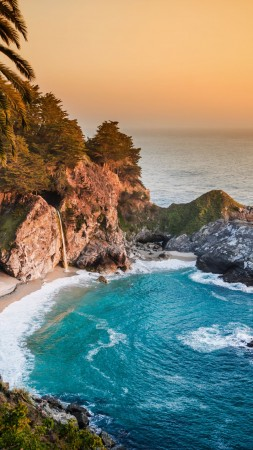Pacific Ocean, 5k, 4k wallpaper, big sur, california, beach, mcway falls, sunset (vertical)