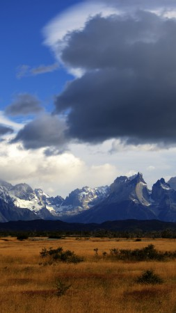 Torres del Paine, 5k, 4k wallpaper, 8k, Chilie, National Park, mountain, clouds, sky (vertical)