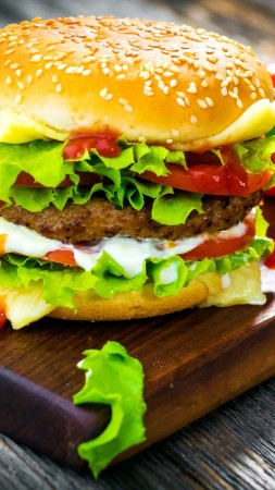 hamburger, tomato, salad, bun, burger, cheese. (vertical)