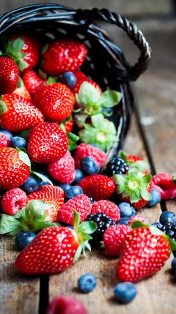 food, fruit, summer, berries, strawberry, raspberry, blackberry, basket. (vertical)