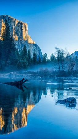 Yosemite, El Capitan, HD, 4k wallpaper, winter, forest, OSX, apple, mountains (vertical)