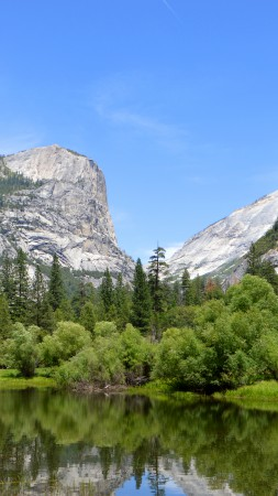 Yosemite, 5k, 4k wallpaper, 8k, forest, OSX, apple, mountains, lake (vertical)