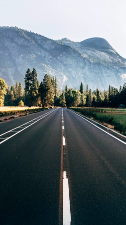 Yosemite, 5k, 4k wallpaper, 8k, forest, OSX, apple, mountains, road (vertical)