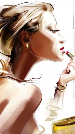 girl, portrait, art, lipstick