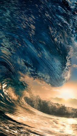 Sea, 5k, 4k wallpaper, ocean, water, wave, sunset, sky, rays, sun, blue (vertical)