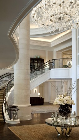 Mandarin Oriental Hotel, classical, white, rich, castle, inside, stairs, room, living room, fire, comfort, place (vertical)