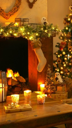 Christmas, new year, home, light, fire, candles, pillows,  (vertical)