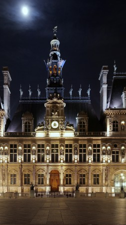Hotel De ville, hotel, place, night, light, moon, beautiful, castle, square, architecture, exterior (vertical)