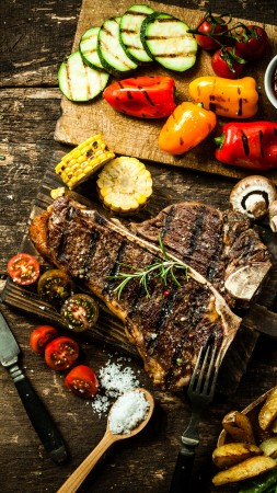 food, cooking, grill, vegetables, peppers, mushrooms, tomatoes, corn, potatoes, meat, steak, sauces. (vertical)