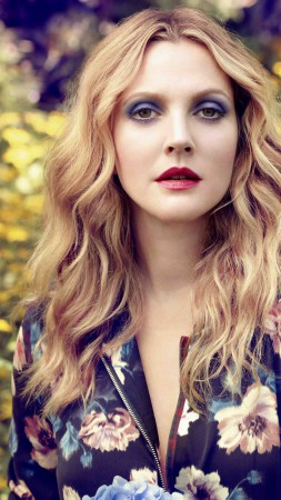 Drew Barrymore, Most Popular Celebs in 2015, actress, model, blonde, flowers (vertical)