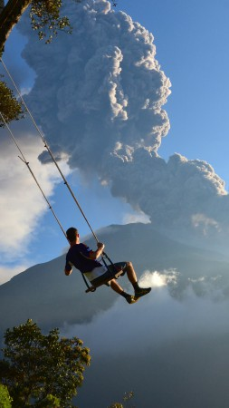 End of the World, 5k, 4k wallpaper, Volcano, swing, man, National Geographics (vertical)