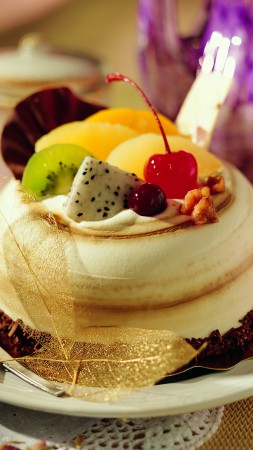 Cake, souffle, fruits, cherry, chocolate (vertical)
