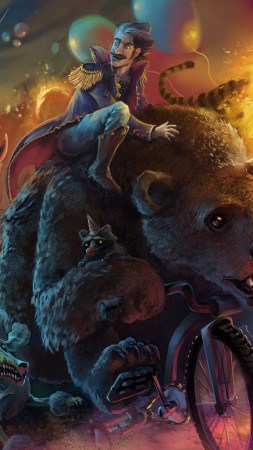 Zombie Art, Animals, bear, creature, Dark, fantasy, funny, humor, Magical, monster, circus, fire ring, tiger, elephant, art, illustration