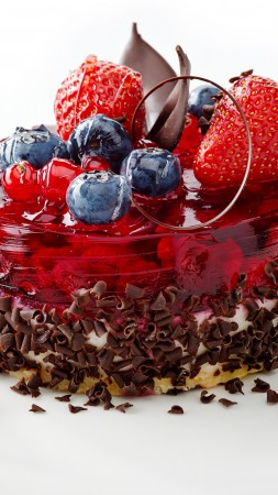 Cake, berries, strawberry, raspberry, blueberry, chocolate
