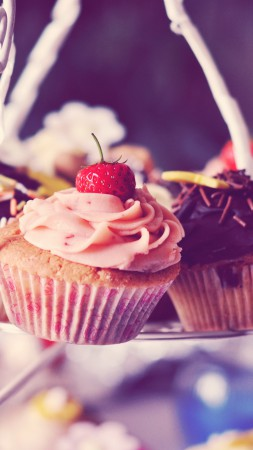 Cupcake, cake, strawberry, cream, chocolate (vertical)