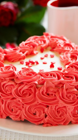 Cake, heart, roses, red, cream (vertical)