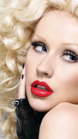 Christina Aguilera, Most Popular Celebs in 2015, singer, actress, red lips, blonde (vertical)