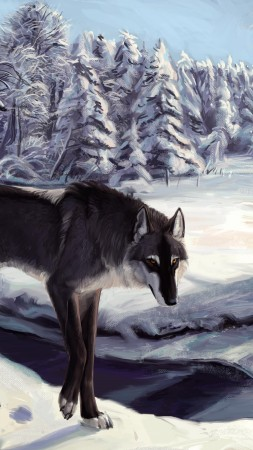 Wolf, winter, lake, sight, gray, white, forest, alone, art (vertical)
