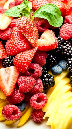 Fruits, berries, strawberry, raspberry, blackberries, kiwi (vertical)