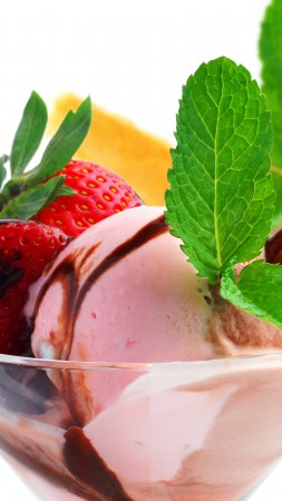 Ice cream, fruits, strawberry, chocolate