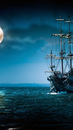ship, sea, moon, night