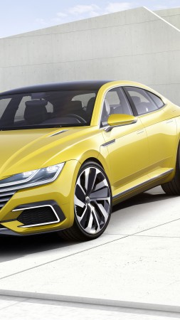 volkswagen Passat CC, coupe, yellow,  (vertical)