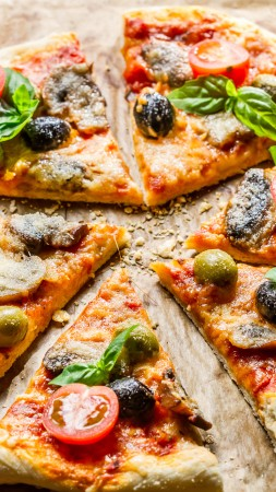 pizza, food, slices, olives, mushrooms, cherry tomatoes, basil (vertical)
