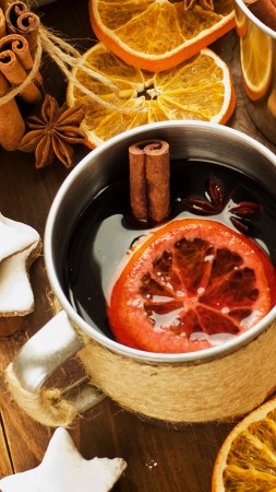 mulled, drink, alcohol, wine, wine, spices, cinnamon, anise, fruit, orange (vertical)
