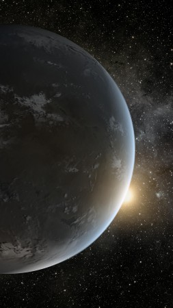 Kepler-452b, Exoplanet, Planet, space, stars (vertical)