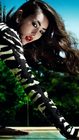 Liu Wen, Top Fashion Models 2015, model, brunette, red lips, dress (vertical)