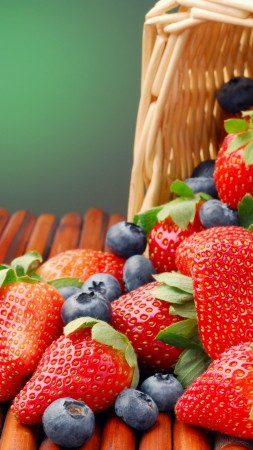 Fruits, summer, berries, strawberry, blackberry, basket (vertical)
