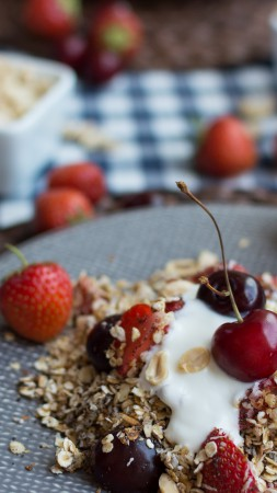 Muesli, oatmeal, berries, cherries, strawberries