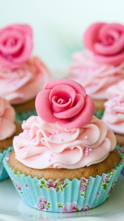 muffins, desserts, pastries, cream, powdered sugar, flowers, roses (vertical)