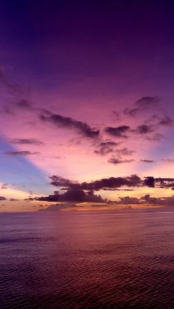 Pacific ocean, sunset, purple, rays, clouds
