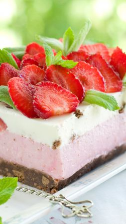 Cake, strawberry, mint, berries (vertical)