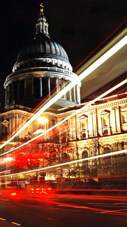 St Paul's Cathedral, London, England, Tourism, Travel, night (vertical)