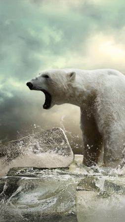 Polar bear, ice, roar, ocean (vertical)