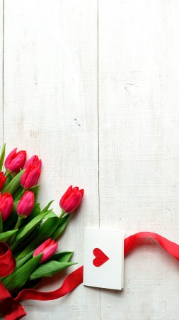 Valentine's Day, 5k, 4k wallpaper, 8k, flowers, tulips, hearts, ribbon, love (vertical)