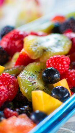 Hawaiian Fresh Fruit Salad, Raspberry, blueberry, kiwi, mango, blackberry, strawberry (vertical)