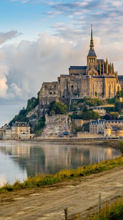 Mont Saint Michel, France, Town-Castle Tourism, Travel (vertical)