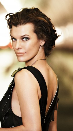 Milla Jovovich, actress, portrait, road (vertical)