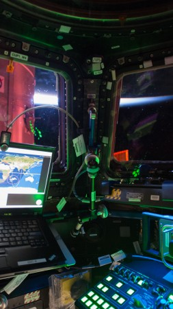 Photo of the Day, ISS-42/43, Cupol, space ship, laptop, track (vertical)